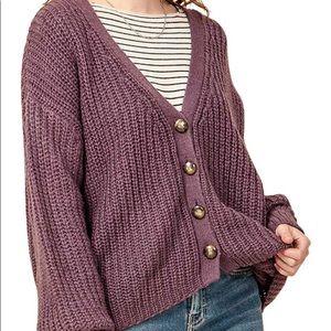 Double Zero Purple Knit Cardigan size small
